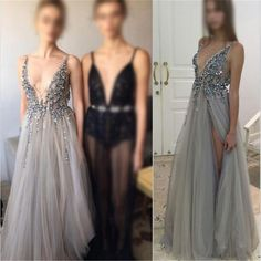 Sexy Deep V-Neck Side Slit Prom Dresses, New Arrival Silver Sequin Tulle Prom Dresses The dress is fully lined, 4 bones in the bodice, chest pad in the bust, lace up back or zipper back are all availa