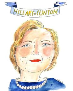 """elizabethgraeber: """" Happy birthday Hillary Clinton🎂download a black and white coloring book version of this drawing on the @workmanpub blog and color it yourself! """""""
