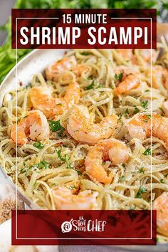 My 15 Minute Shrimp Scampi is a family favorite weeknight meal for busy families! This recipe is quick and easy to make, and everyone always raves about it. Trust us, you'll be licking your plate clean tonight! #shrimpscampi #shrimp Seafood Recipes, Pasta Recipes, Dinner Recipes, Dinner Ideas, Weeknight Meals, Easy Meals, 15 Minute Meals, Money Saving Meals, Scampi