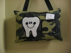 Happy Tooth TOOTH FAIRY PILLOW Camoflauge by TAT1967 on Etsy, $11.99 Tooth Fairy Pillow, Diaper Bag, Pillows, Unique Jewelry, Handmade Gifts, Happy, Kids, Vintage, Etsy