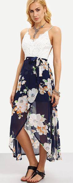 BREACH DRESSES - Spaghetti Strap Contrast Lace Wrap Florals Dress - Romwe.com