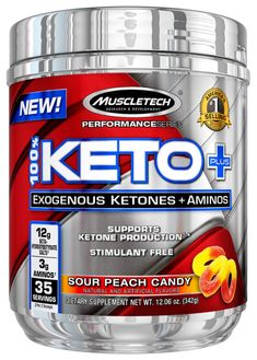 MuscleTech Keto Plus Ketones Supplement, Exogenous Ketones & Aminos, Sour Peach Candy, 35 Servings Big Muscle Training, Best Supplements, The 100, Peach, Keto, Core, Exercise, Natural, Ejercicio