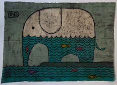 "Batik ""Elephant""- size A2; Artist: Irena Buchwald ""Manufacture Buchwald"""