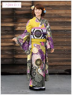 A couple sets of western opposite colors— here yellow and purple, and black and white— fill this wonderfully modern furisode. Th...