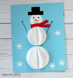 Easy dimensional paper snowman Christmas card - craft for kids // Egyszerű térbeli papír hóember képeslap - kreatív ötlet gyerekeknek // Mindy - craft tutorial collection // #crafts #DIY #craftTutorial #tutorial