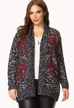 Worldly Open-Front Cardigan | FOREVER21 PLUS - 2000111993