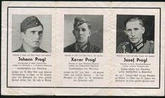 orig. WK2 STERBEBILD - DEATH CARD - 3 BRÜDER 1944/1945 - BASTOGNE / LUXEMBOURG
