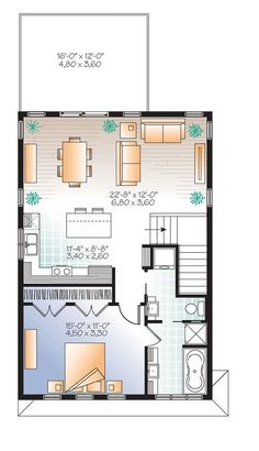 20x30 single story floor plan one bedroom small house for Garage apartment plans canada