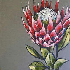 Line Art Flowers, Flower Art, Watercolor Flowers, Painting Flowers, Protea Art, Art Addiction, King Art, Africa Art, Rock Crafts