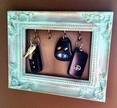 Good to make for a present! All you need is an old picture frame, paint that, then put the hooks on it. Never lose your keys again. #diy #creative