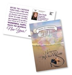 New Year's at the beach // direct mail postcards for real estate agents // One Step Services