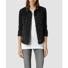 AllSaints Drop Denim Jacket/Washed Black (175 AUD) ❤ liked on Polyvore featuring outerwear, jackets, denim jacket, tops, washed black, black denim jacket, slim jacket, black slim jacket and cotton jean jacket