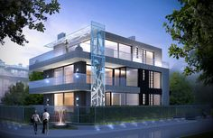 PARK APARTMENTS,NIGHT VIEW,WARSAW,POLAND conceptual design ,project by Andrew Ludew-architect