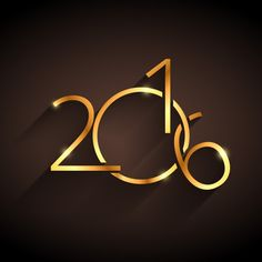 dourado feliz ano novo 2016 Vetor grátis