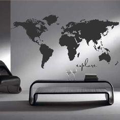 World Map International Countries Modern Home Bedroom Wall Sticker Art Mural M10 [Large Charcoal]