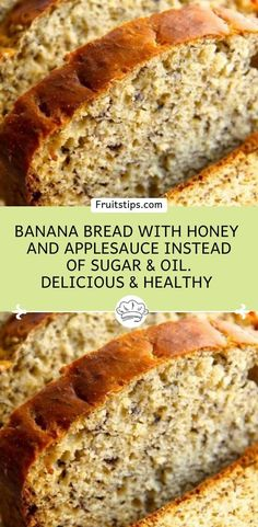 Banana Bread with honey and applesauce instead of sugar & oil. Delicious & Healthy – Don't LOSE this recipe! Banana Bread Honey, Low Calorie Banana Bread, Banana Bread With Applesauce, Whole Wheat Banana Bread, Banana Bread Muffins, Best Banana Bread, Banana Bread Apple Sauce, Baking With Applesauce, Protein Banana Bread