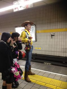 Woody, Toy Story. Andy, I think you dropped something getting off the train!