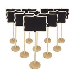 Bcony MINI Small Blackboard Chalkboard Wooden Message Board Holder with stand for Party Wedding table Number/place card setting decoration,set of 9