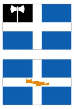 Unofficial flags for the island Crete,Greece. Flag 1:It bears some similarities with the Flag of Crete which was used officially between 1897-1913. The difference is that the section in the top left hand corner (canton) of this flag replaces the Ottoman element and instead includes the symbol of the Labrys which is strongly linked to Crete via the Minoan civilization. Flag 2:This flag is way more common.The desing is based on a common patern inspired probably by some flags of the Greek…