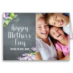 Chalkboard Bloom Mothers Day Photo Card #mothersday