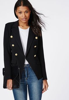 Woven Gold Button Tailored Blazer Black - Blazers - Missguided Black Blazers f7027be5c4528