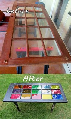 Cute idea for a coffee table! instead of stained glass just put your favorite backsplash on top!