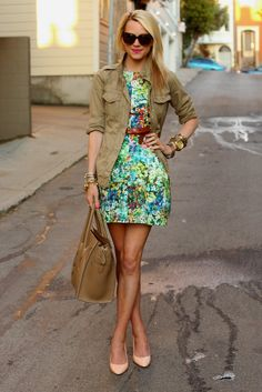 Floral, girly print meets field jacket - great tomboy twist on a feminine look.  http://atlantic-pacific.blogspot.com/2011/10/happy-weekend.html