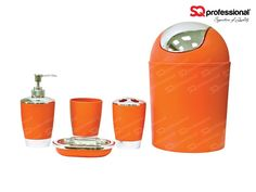 Toilet Accessoires Set : 6 piece sanitary set orange: liquid soap dispenser soap tray