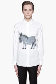 Marni White Donkey Print Button Up Shirt for men | SSENSE