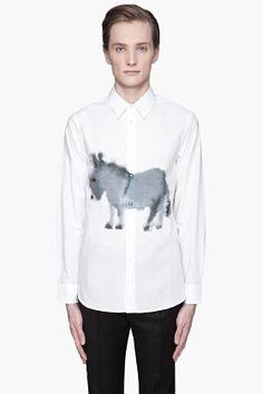 MARNI White Donkey Print button up Shirt