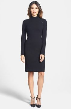 Free shipping and returns on Classiques Entier® Funnel Neck Stretch Crepe Sheath Dress at Nordstrom.com. An exposed zipper spotlights the sleek funnel-neck styling of a long-sleeve sheath cut to skim your curves.