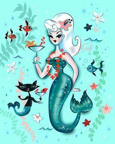 Martini Mermaid Platinum Blonde Mini Art Print by Miss Fluff - Without Stand - x Mermaid Drawings, Mermaid Tattoos, Mermaid Paintings, Unicorns And Mermaids, Mermaids And Mermen, Fantasy Mermaids, Minions, Mermaid Cat, Mermaid Room