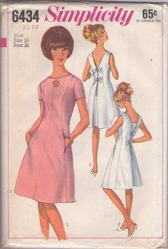 Simplicity 6434 Vintage 60's Sewing pattern V Back cocktail party dress, #MOMSPatterns