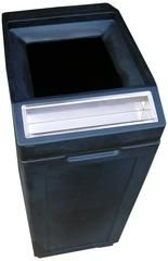 Commercial 39 Gallon Trash Can with Ashtray - Black Open Top