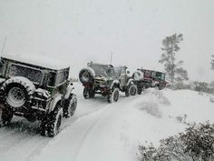 When one Jeep owner calls another.. A jeep convoy happens in the snow to raise a little hell.