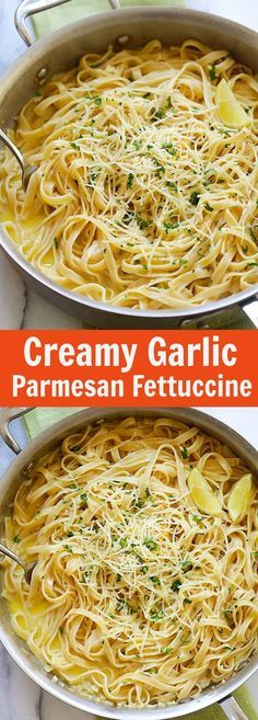 Creamy Garlic Parmesan Fettuccine – one-pot pasta with creamy garlic sauce and topped with Parmesan cheese. Dinner takes 20 mins   http://rasamalaysia.com