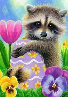 This is an 2 x 3 ACEO, which is miniature art. Painted on 140 lb watercolor paper. Wildlife Paintings, Animal Paintings, Animal Drawings, Cute Drawings, Raccoon Art, Cute Animal Clipart, Bee Art, Images Wallpaper, Flower Art