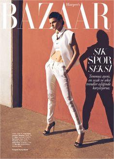 Jessica Stam Is Sporty Glam for Harper's Bazaar Turkey's July Cover Shoot by Koray Birand