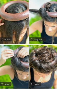 """1,Spray paint foam ring in a color that matches your hair, and set on the crown of your head.  2,Section hair in 2 to 3-inch pieces, and wrap up and over the ring.  3,Use greenery pins to secure hair to ring, leaving the """"tail"""" of the hair section loose in the middle of the ring. Use a bobby pin to pin """"tail"""" to crown of head."""