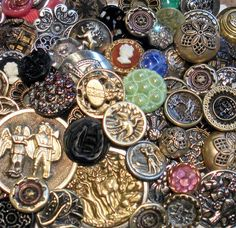 Large Lot 60 Antique Vintage Buttons Wonderful Assortment Variety | eBay