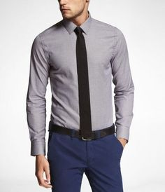 grey slim fit shirt, black skinny tie, blue pants, black belt. like the fit and colors