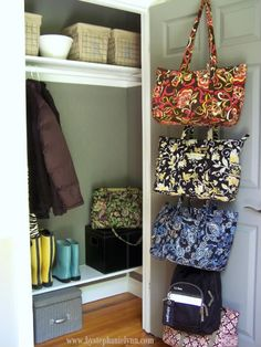 Organizing the Front Entry Coat Closet -just did this. Like the 3M hooks. Great idea!
