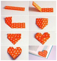 kitap ayracı nasıl yapılır, origami ayraç nasıl yapılır, origami kitap ayracı, kitap ayracı yapımı, kitap ayracı, kalp şeklinde kitap ayracı -
