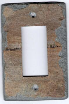 Upcycled Slate Switchplate Decora Rocker GFCI by VermontSlateArt
