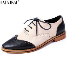 Zapatos Oxford para para 2016 mujeres sueltan los zapatos Brogues cuero punta estrecha Lace Up zapatos de mujer pisos de estilo británico XWR0024-5(China (Mainland))