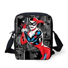 2016 Brand Designer Men Messenger Bags Funny Harley Quinn and Joker Printing Shoulder Bag Fashion Women Cross-Body Bag Small Bag
