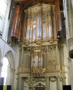 Absolutely gorgeous Van Hagerbeer organ, St. Laurenskerk, Alkmaar, Netherlands.  The painted or stenciled wood panels, angels beneath the lower rank, awesome.