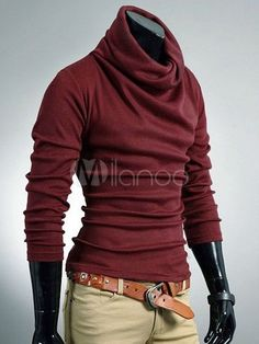 Long Sleeves Turtleneck Solid Color Cotton Trendy Men's Tee Shirt - #menswear