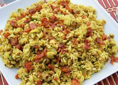 Curry and Comfort: Curried Hoppin' John with Pork and Bacon Rice Bacon Recipes, Side Recipes, Salad Recipes, Rice Dishes, Pasta Dishes, Main Dishes, Pork Curry, Hawaiian Dishes, Curry Noodles