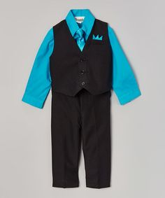 Look at this #zulilyfind! Black & Teal Four-Piece Vest Set - Infant, Toddler & Boys #zulilyfinds